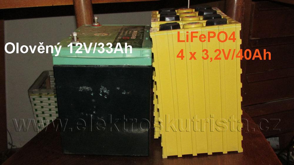 Srovnání velikosti olověných a lithiových článků - Elektroskútr IO1500GT electric scooter.