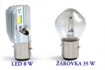 Ledka 8W versus žárovka 35W BA20D - hlavní světlo v elektroskútru.