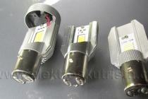 Přední ledky zleva 20W s větráčkem, 8W a 12W - náhrada hlavního světla v elektroskútru.