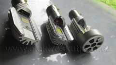 Přední ledky zprava 20W s větráčkem (náhrada 35W BA20D) , 8W a 12W - náhrada hlavního světla v elektroskútru.