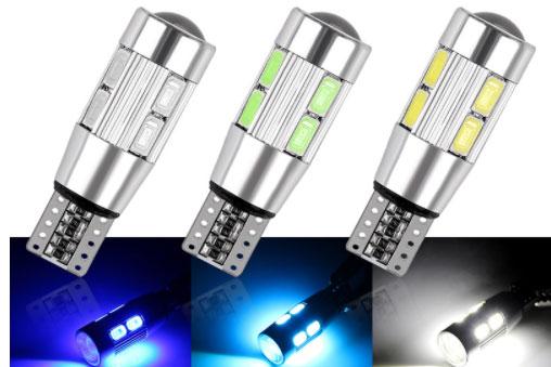 Přední parkovací ledka bílá, patice T10, podstatně delší než klasická parkovací baňka žárovky T10, ale vejde se a díky přední čočce svítí opravdu hodně.