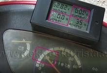 Odběr při rozsvícených světlech při rekuperaci - Elektroskútr IO1500GT nová řídící jednotka - montáž.