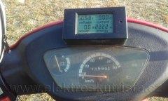Stav wattmetru 2222 Wh -  nejdelší jízda elektroskútru IO1500GT na jedno nabití s rekuperací v roce 2018