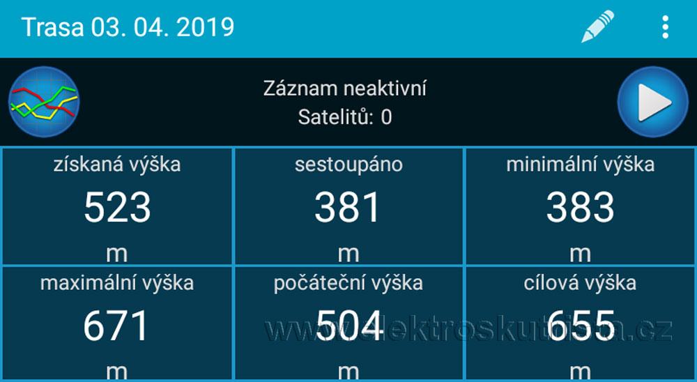 Zaznamenané parametry - první jízda elektroskútru v roce 2019